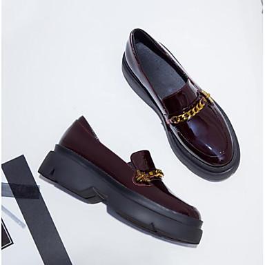 06840848 Bout Chaussures Chaussons et Eté fermé Femme Talon Plat Bourgogne Cuir Printemps Noir D6148 Mocassins Verni Confort aFdqCn7w