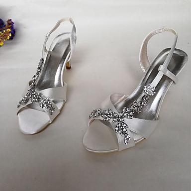 Aiguille Evénement rond Bout mariage Femme Chaussures Printemps A Strass de été Talon 06816074 amp; Satin Chaussures Bride Blanc Soirée Mariage Arrière pOOqHP