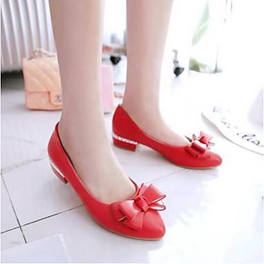 Verano Punta cerrada 06792335 Bailarinas Tacón Mujer Confort Zapatos Rosa PU Cuadrado Blanco Rojo 0wqx8wEO4