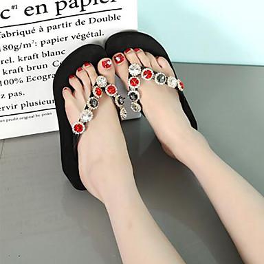 Femme Femme Femme Chaussures Polyuréthane Printemps été Salomé Chaussons ; Tongs Hauteur de semelle compensée Bout ouvert Strass / Billes Noir / Gris foncé / Vin 770c1d