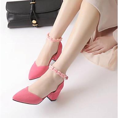 Dedo Mujer Rosa Zapatos claro 06790941 Verano Negro Puntiagudo Gris Ante Tacón Cuadrado Confort Tacones 0xp0Unr7B