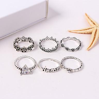 billige Motering-Dame Ring Set Midiringe Stable Ringer 6pcs Sølv Strass Legering Trekant damer Vintage Europeisk Gate Smykker Blomst