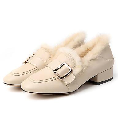 Žene Cipele Mekana koža Zima Udobne cipele Natikače i mokasinke Ravna potpetica Crn / Bež