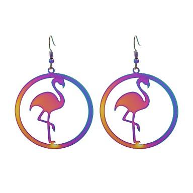 billige Moteøreringer-Dame Dråpeøreringer Flamingo damer Luksus Tatovering Anime Rustfritt Stål øredobber Smykker Regnbue Til Gave Aftenselskap 1 par