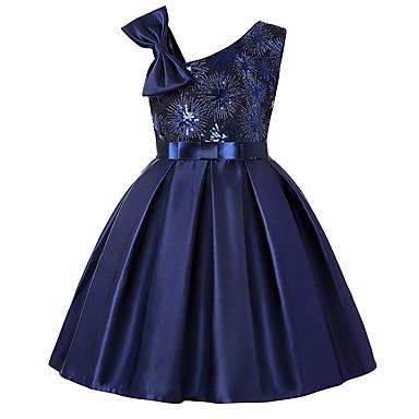 رخيصةأون ملابس الأميرات-فستان فوق الركبة بدون كم ترتر لون سادة / هندسي / ألوان متناوبة مناسب للعطلات رياضي Active / حلو للفتيات أطفال / طفل صغير