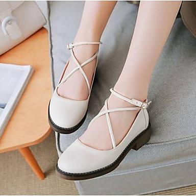 des chaussures en cuir faible confort estival flats nappa talon toe fermé toe talon blanc / noir / jaune d5f960