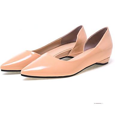 les chaussures de confort d'été / de talon base de vache noire / pompe flats faible talon de rouge / almond f49e7a