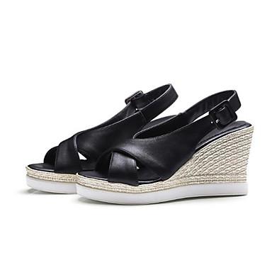 06782919 Sandalias Beige Sintético Puntera Negro Hebilla Verano abierta Zapatos Confort Cuña Tacón Cuero Mujer qXOTwUx