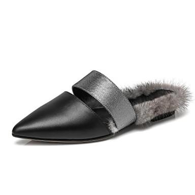 Confort Noir Talon Mules Femme Nappa pointu amp; Cuir Plat 06785767 Bout Automne Chaussures Sabot xwIRZq