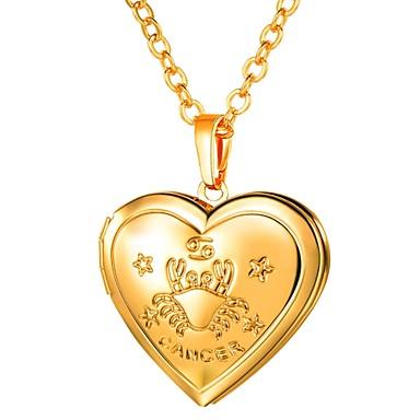 billige Mote Halskjede-Dame Anheng Halskjede Lang Zodiac Indgraveret Medaljong Hjerte damer Romantikk Mote Kobber Gull Sølv 55 cm Halskjeder Smykker 1pc Til Gave Daglig