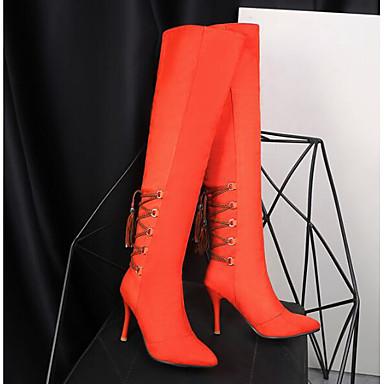 06795198 Bottes Polyuréthane Bottes Confort Talon Hiver la Bottier Femme Orange Mode Brun Chaussures claire à Noir Cuissarde wRqITa
