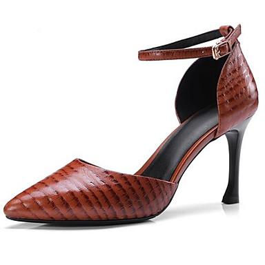 Žene Cipele Ovčja koža Ljeto Udobne cipele Cipele na petu Stiletto potpetica Crn / Svjetlosmeđ