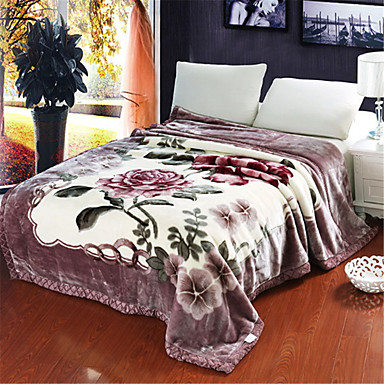 povoljno Deke i prekrivači-Posteljina deke, Cvjetni print Pamuk / poliester zgusnuti pokrivači