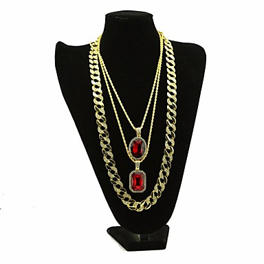 d41f1a6dbb Men's AAA Cubic Zirconia Statement Necklace Long Necklace Layered Retro  Thick Chain Creative Dubai Alloy Gold 30/54/76 cm Necklace Jewelry 3pcs For  Carnival ...