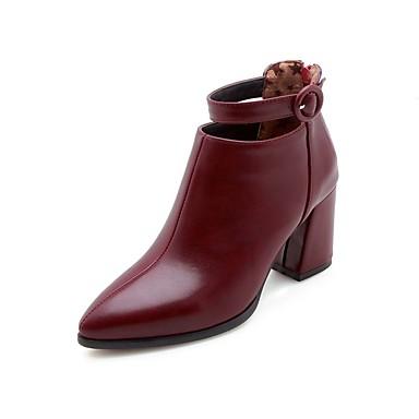 Talon 06781770 Botillons Beige Bottes Cuir Automne Noir Chaussures pointu Bout hiver Boucle Verni Bottes Bourgogne Bottier Femme XwxqA04ac