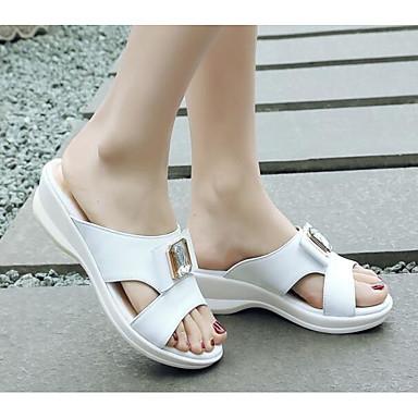 Blanc Chaussons Talon Tongs 06834405 Cuir Chaussures Bas amp; Eté Confort Femme Nappa Rose TvFgxxnq