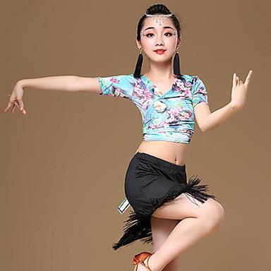 dc22e0973 Latin Dance Outfits Girls' Training / Performance Modal Pattern / Print /  Tassel / Bandage Short Sleeve High Skirts / Top #06836155