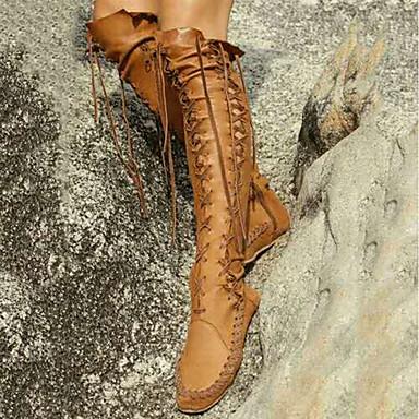 Faux Noir Marche amp; Bout Gladiateur Chaussures Bottes Soirée Cuir fermé 06812632 Marron Bottes hiver Evénement Talon Automne Femme Plat Confort 85qw6PS