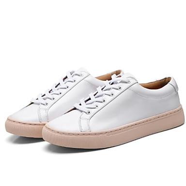 Rose Rose Blanc blanc Chaussures Femme Printemps Confort Eté fermé Talon Bout Plat et Basket Cuir 06834342 Nappa TwxwBP7Oq