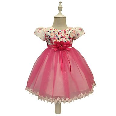 Χαμηλού Κόστους Φορέματα για κορίτσια-Παιδιά Νήπιο Κοριτσίστικα Βασικό Γλυκός Πάρτι Εξόδου Patchwork Με κοψίματα Κοντομάνικο Ως το Γόνατο Βαμβάκι Πολυεστέρας Φόρεμα Ρουμπίνι