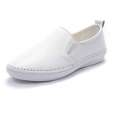 Femme Nappa Printemps Chaussures Noir Argent Talon Chaussons D6148 Automne 06797466 Cuir Confort Plat et Mocassins Blanc 1xwrx