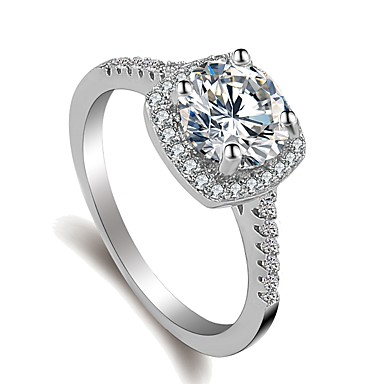billige Motering-Dame Ring Belle Ring Micro Pave Ring 1pc Sølv Messing Platin Belagt Fuskediamant damer Koreansk Søt Bryllup Engasjement Smykker Elegant Solitaire Rund Kjærlighed Lykkelig Smuk