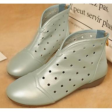 Žene Cipele Mekana koža Jesen / Zima Udobne cipele / Modne čizme Čizme Wedge Heel Čizme gležnjače / do gležnja Crn / Badem / Svijetlo zelena