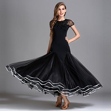f9d37812e621 Ballroom Dance Dresses Women's Performance Senior Emulation Silk / Tulle / Ice  Silk Draping Short Sleeve