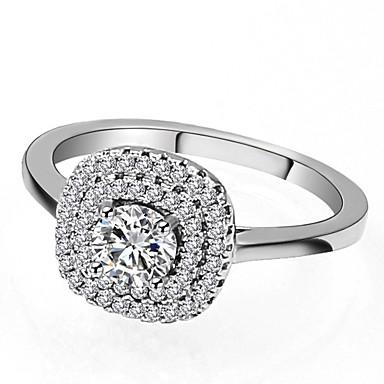 billige Motering-Dame Ring / Micro Pave Ring 1pc Sølv Messing / Platin Belagt / Fuskediamant damer / Klassisk / Mote Engasjement / Stevnemøte Kostyme smykker