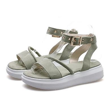 Eté Plat 06840341 Vert mouton Talon Sandales Confort Femme de Peau Noir Rose Chaussures Zn7I8