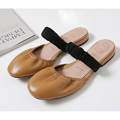 Confort Mules Sabot Printemps Femme Eté amp; 06834850 mouton Chaussures de Marron Talon Plat Noir Peau Wx4qqU1ZYw
