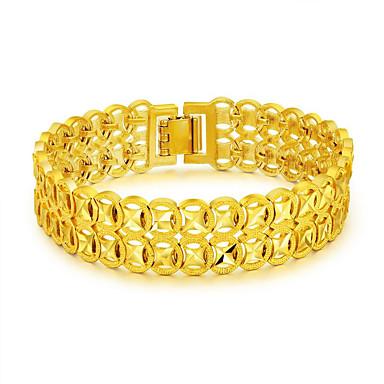 baratos Bangle-Homens Pulseiras em Correntes e Ligações Bracelete Bracelete da ligação da pepita Moeda Importante Luxo Fashion Aço Inoxidável Pulseira de jóias Dourado Para Presente Ano Novo / Chapeado Dourado
