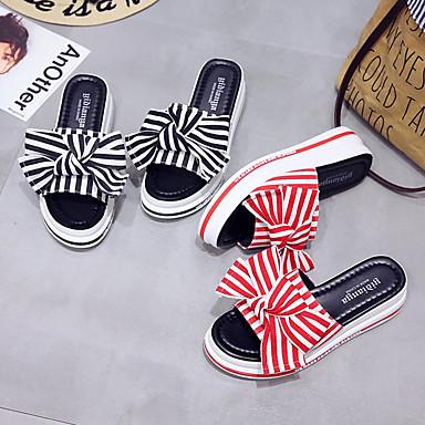 A Descubierto Rayas 06777088 Mujer plataforma Sandalias Verano Zapatos Media Talón Negro Tela Punto Pajarita Rojo wOO7qX1