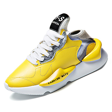 Men's Faux Leather / PU(Polyurethane) Comfort Fall Comfort PU(Polyurethane) Athletic Shoes Running Shoes White / Black / Yellow 298b83