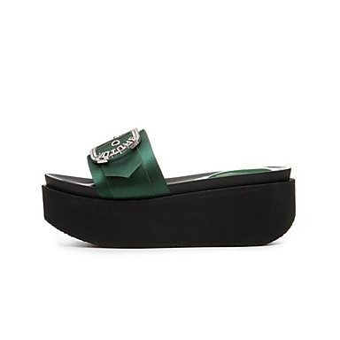 Vert Tongs Chaussures Noir Confort Eté Creepers Satin 06781697 Chaussons Femme amp; xaqzwROqY
