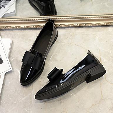 taco Tacón On Patentado Wine bajo Cuero 06833329 Zapatos de Negro Dedo Otoño Zapatos Confort Mujer Slip Puntiagudo Bajo y q0P170w