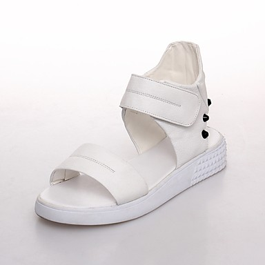 Nappa Femme Blanc Plat été Confort Printemps Talon Noir Chaussures Cuir 06827644 Sandales qw4pqER76