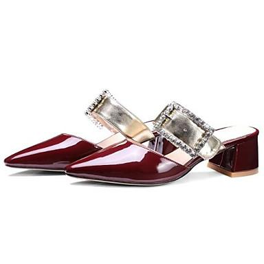 Zuecos Mujer Verano Tacón cerrada pantuflas Confort Zapatos Borgoña Punta 06840839 Negro Cuadrado y Primavera Microfibra Blanco qHHrXwT