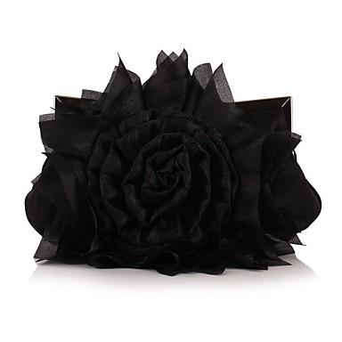billige Vesker-Dame Knapper / Blomst polyester Aftenveske Broderi Hvit / Svart