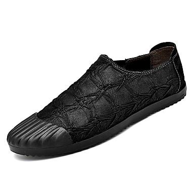Men's Moccasin Cowhide Brown Fall Loafers & Slip-Ons Black / Brown Cowhide / Khaki 16f1f3