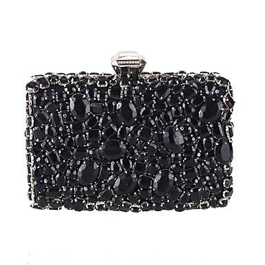 billige Vesker-Dame Knapper / Krystalldetaljer polyester Aftenveske Rhinestone Crystal Evening Bags Blomstermønster Svart / Sølv