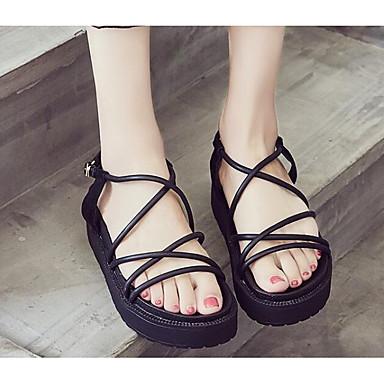 06812865 Noir Eté Confort Chaussures Rose Femme Sandales Polyuréthane Creepers Cuir nqwAxapzg