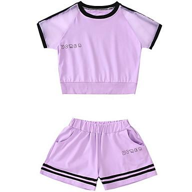 Djeca Djevojčice Osnovni Jednobojni Kratkih rukava Poliester Komplet odjeće Obala 140