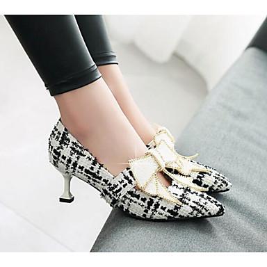 Escarpin Basique Chaussures Chaussures Femme 06783172 Tricot Confort Amande Noir Blanc Automne à Cône Talon Printemps Talons X0Ydw0