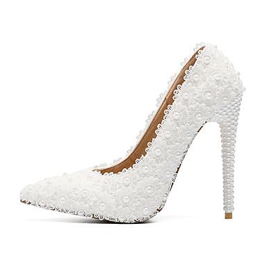 les chaussures de femmes (polyuréthanne), automne et et et hiver - pompe chaussures base talon aiguille orteil pearl / satin fleur blanc / partie & soir b2891a