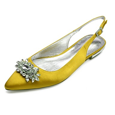 6136246f3f2 Women s Shoes Satin Spring   Summer Comfort   Slingback Wedding Shoes Flat  Heel Pointed Toe Rhinestone   Sparkling Glitter Blue   Champagne   Ivory    Party ...