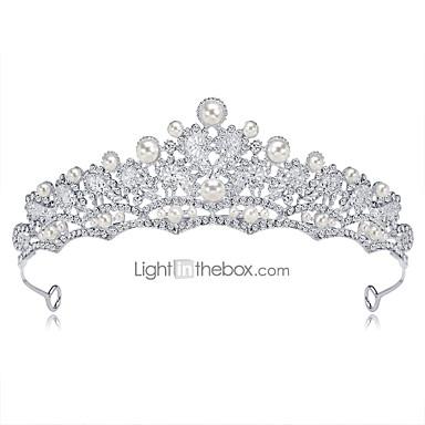 levne Dámské šperky-Dámské Formal Elegantní Korálky Kubický zirkon Diadémy čelo Crown / Štras / Postříbřené / Slitina