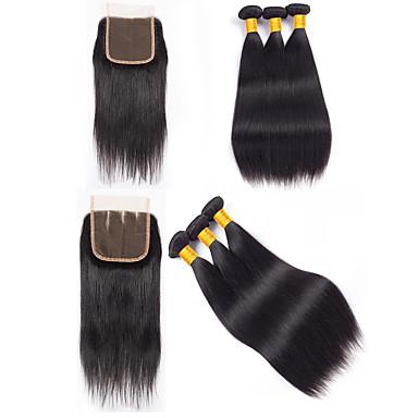 baratos Extensões de Cabelo Natural-3 pacotes com fechamento Cabelo Peruviano Liso 8A Cabelo Humano Não processado Cabelo Natural Cabelo Humano Ondulado Cabelo Bundle Um Pacote de Solução 8-20 polegada Côr Natural Tramas de cabelo