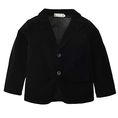 cheap Boys' Jackets & Coats-Kids / Toddler Boys' Active / Basic Daily / Holiday Solid Colored Long Sleeve Regular Cotton / Polyester Suit & Blazer Black