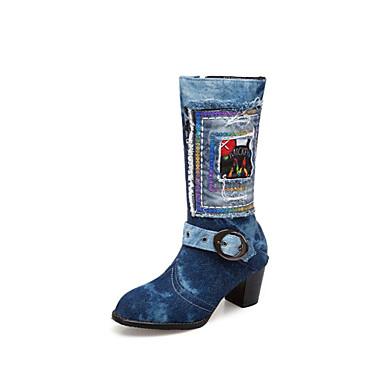 6132da7760 Mulheres Sapatos Jeans Primavera Verão Botas da Moda Botas Salto Robusto  Ponta Redonda Botas Cano Médio Azul Escuro   Azul Claro   Festas   Noite